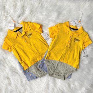 Carters Twins Little Captain Polo Onesie & Shorts